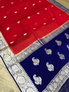 Red and dark blue pure banarasi chiffon sarees