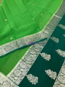 Green pure banarasi chiffon sarees