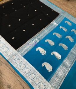 Black pure banarasi chiffon sarees