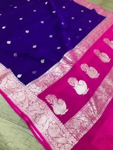 Dark blue and dark pink pure banarasi chiffon sarees