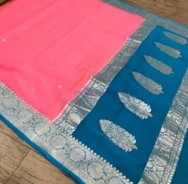 Peach pink and peacock blue pure banarasi chiffon sarees