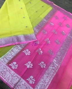 Yellow and pink pure chiffon banarasi sarees