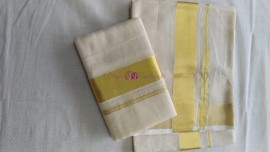 Pure handloom kerala tissue setmundu with 3 inch border