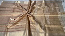 Gold pure tussar tissue silk Self weaved sarees