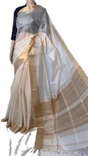 Cream pure tussar silk plain sarees