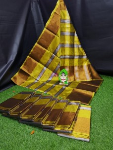Green uppada tissue cotton sarees with jari lines