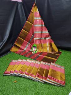 Onion pink uppada tissue cotton sarees