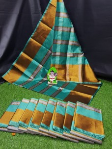Turquoise blue uppada tissue cotton sarees