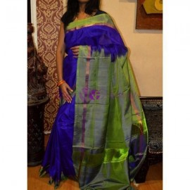 Dark blue with green uppada plain sarees