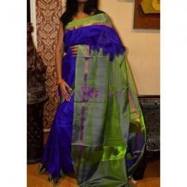Dark blue with green uppada plain sarees
