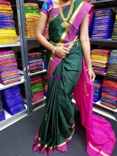 Dark green and dark pink uppada plain sarees