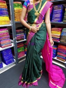 Dark green and dark pink uppada plain sarees