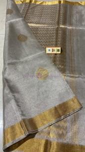 Silver pure handwoven tussar tissue silk sarees