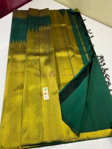 Bottle green pure handloom kanchipuram silk sarees with temple border
