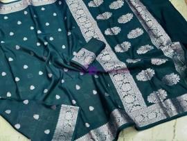 Dark peacock blue banarasi semi pure silk Georgette chiffon sarees