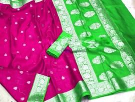 Dark magenta and green banarasi semi pure silk Georgette chiffon sarees
