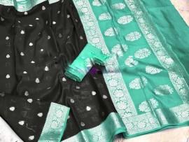 Black and aqua green banarasi semi pure silk Georgette chiffon sarees