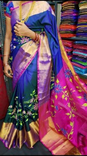 Navy blue with dark pink uppada silk printed sarees