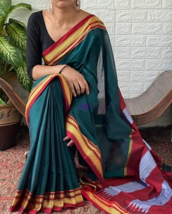 Peacock green rayon silk sarees