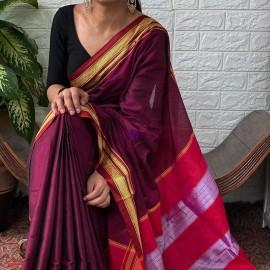 Dark magenta rayon silk sarees