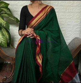 Dark green rayon silk sarees