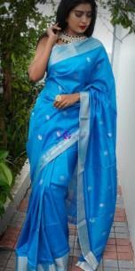 Sky blue Uppada sarees with coin butti