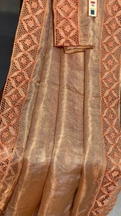 Copper color pure tussar tissue silk cutwork sarees