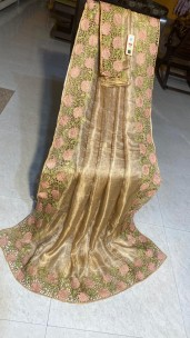 Gold pure tussar tissue silk cutwork sarees