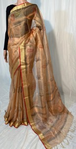 Copper pure tussar tissue silk digital printed sarees