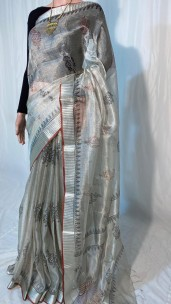 Silver pure tussar tissue silk digital printed sarees