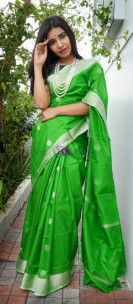Green uppada sarees with coin butti
