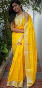 Yellow uppada sarees with coin butti