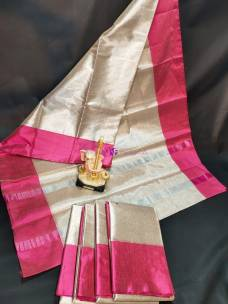 Uppada silver tissue cotton sarees with pink border