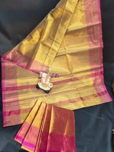 Uppada gold tissue cotton sarees with pink border