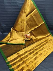 Dark gold tissue cotton sarees with green border
