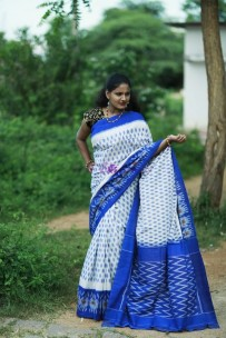 White and dark blue pure handloom ikkat cotton sarees
