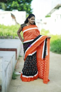 Black with orange pure handloom ikkat cotton sarees
