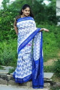 White with dark blue pure handloom ikkat cotton sarees