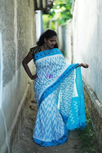 White and sky blue handloom ikkat cotton sarees