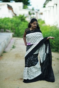White and black pure handloom ikkat cotton sarees