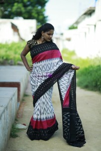 White with black and magenta pure handloom ikkat cotton sarees