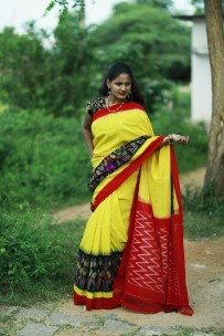 Yellow pure handloom ikkat cotton sarees