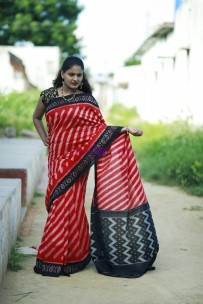 Red and black pure handloom ikkat cotton sarees
