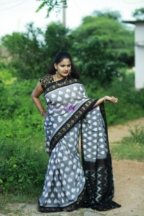 Grey and black pure handloom ikkat cotton sarees