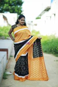 Black pure handloom ikkat cotton sarees