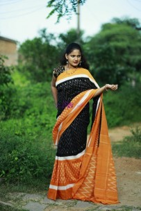 Black and orange pure handloom ikkat cotton sarees