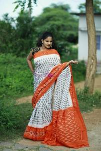 White and orange pure handloom ikkat cotton sarees
