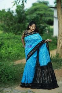 Sky blue and black pure handloom ikkat cotton sarees
