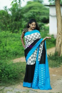 White with multicolor pure handloom ikkat cotton sarees