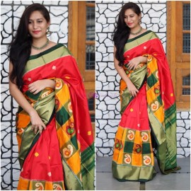 Red with multicolor checks border ikkat silk sarees